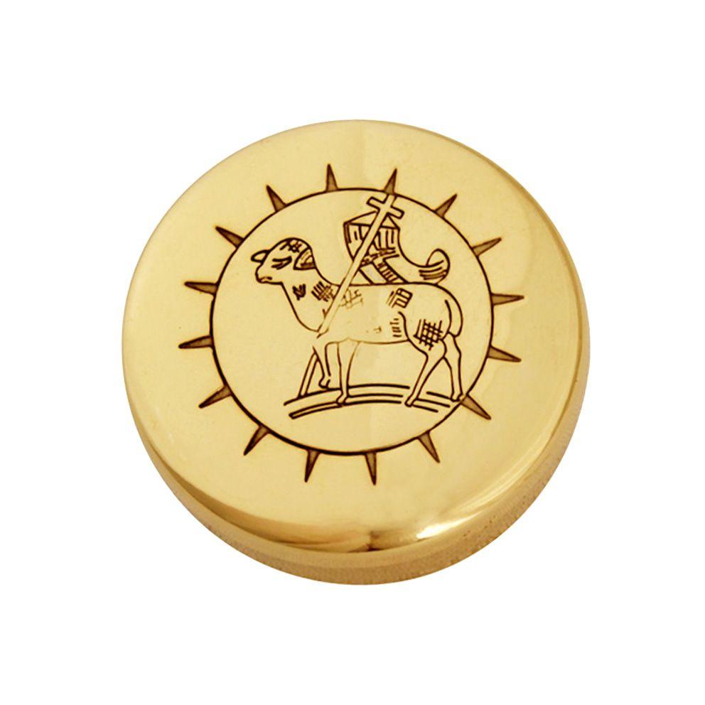 Teca modelo Cordeiro - dourado ou niquelado - diâmetro 4cm - capacidade 10 partículas