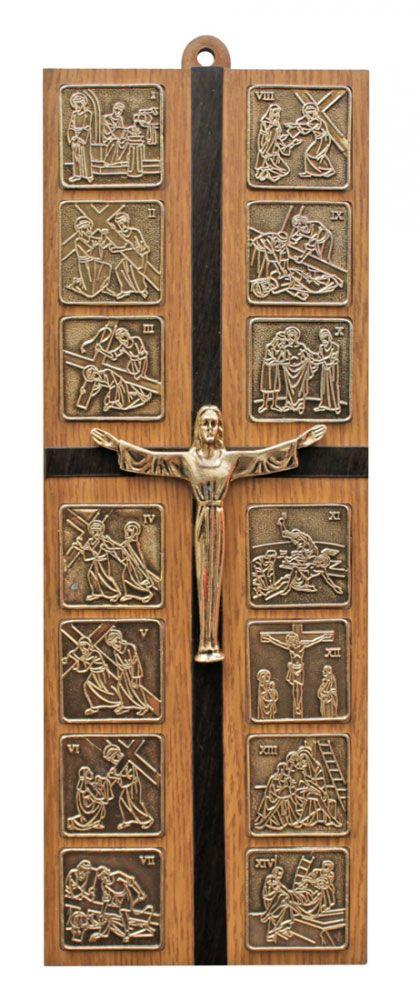 Via Sacra modelo pequena - 15 estações - dimensões 26x9,5cm - estrutura em madeira e apliques em ouro velho