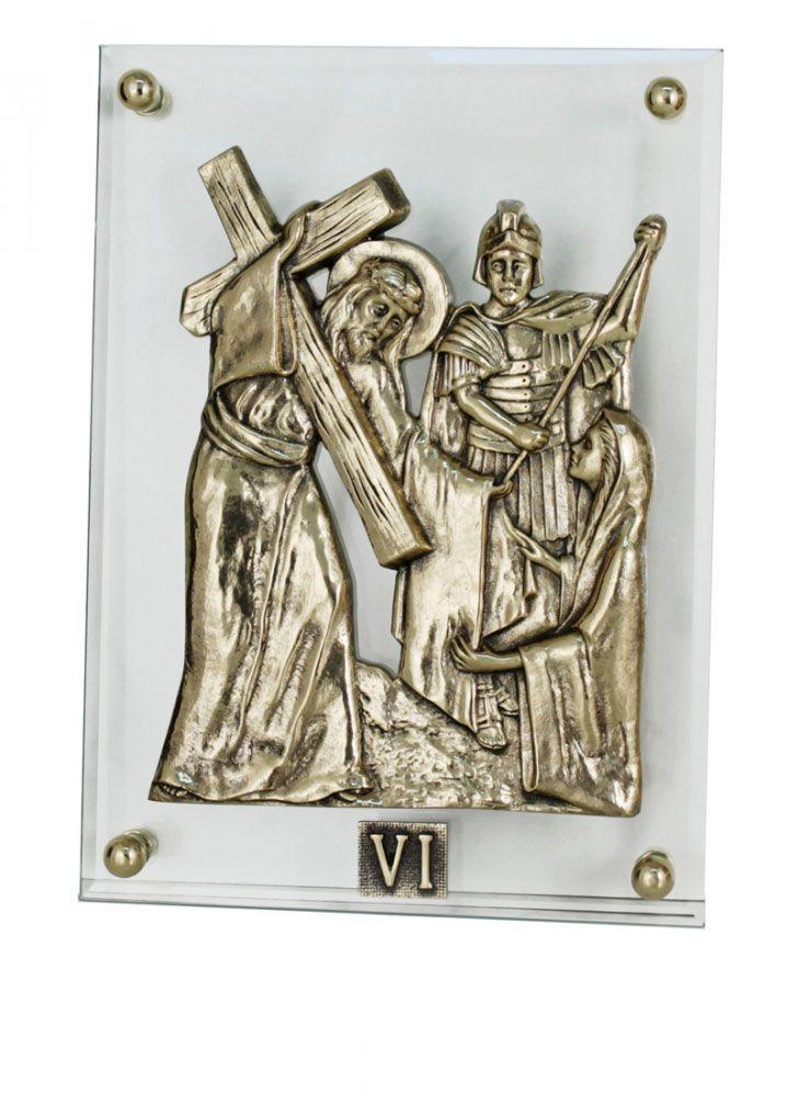 Via Sacra confeccionada em vidro - apliques em broze fundido - dimensões 27x37cm