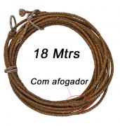 Laço De Couro Artesanal 18 Metros Com Argola De Inox.
