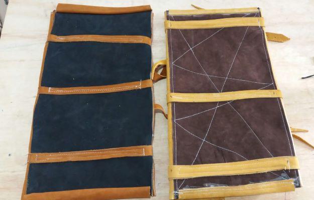 Porta capa de vaqueta abufalada/ na cor castor escuro