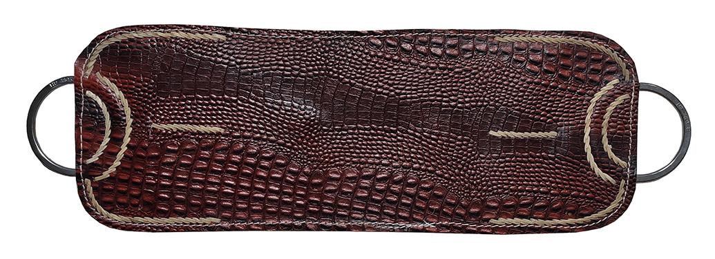 Travessão com couro texturizado costura em couro cru