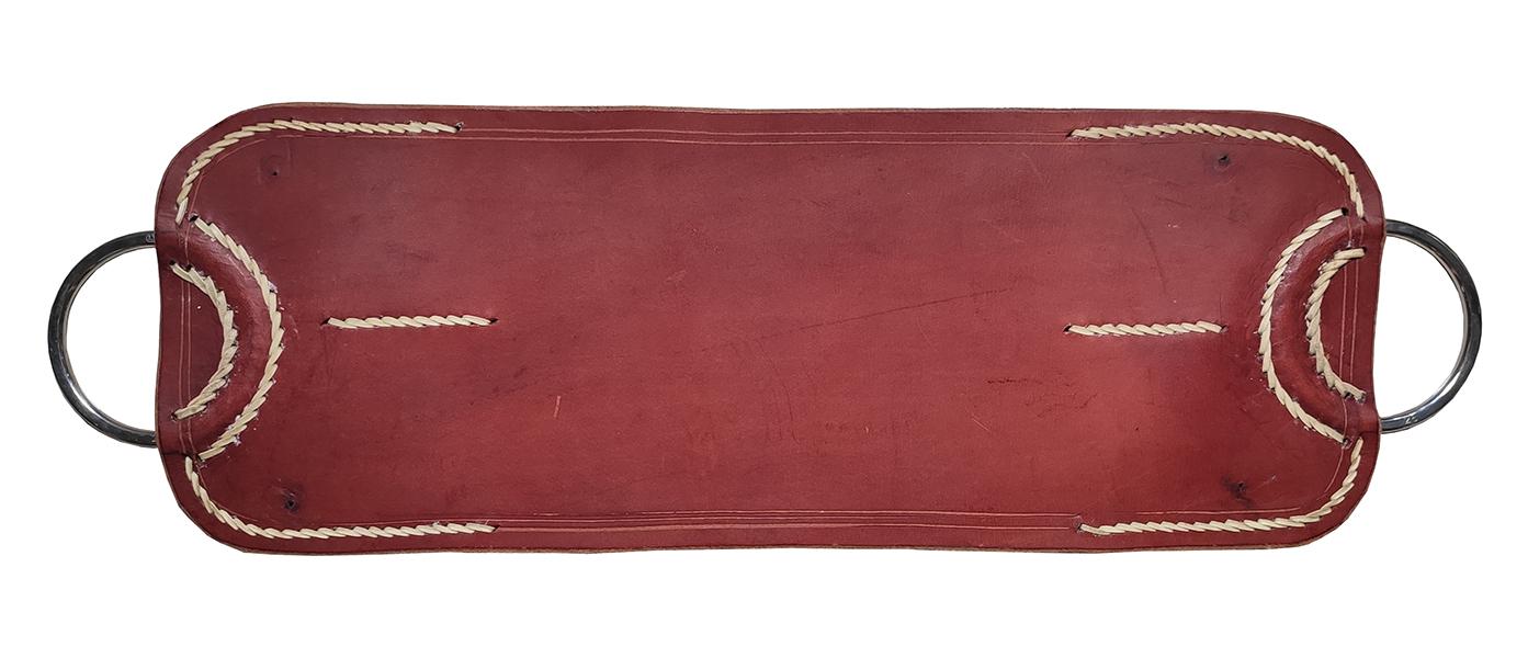 Travessão no couro angico costura em couro cru