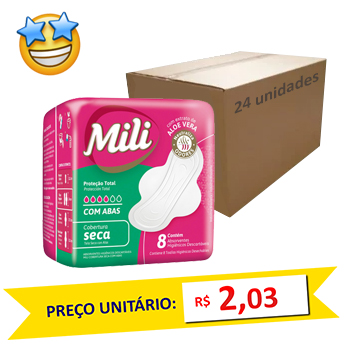 Absorvente Mili P Total Seca 8 un c/abas (Caixa c/ 24)