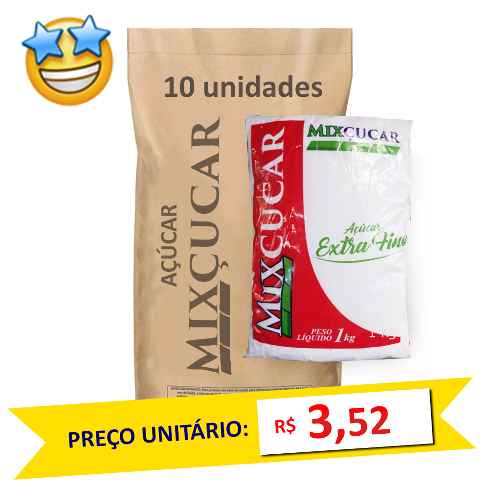 Açúcar Extra Fino Mixçucar kg (Fardo c/ 10)