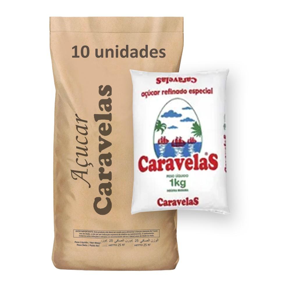 Açúcar Refinado Caravelas kg (Fardo 10kg)   - Grupo Borges Atacadista