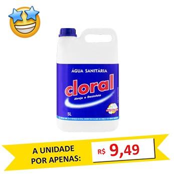 Água Sanitária Cloral 5 Litros  - Grupo Borges Atacadista