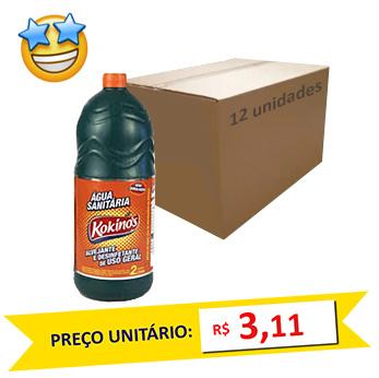 Água Sanitária Kokinos 2l (Caixa c/12)  - Grupo Borges Atacadista