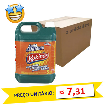 Água Sanitária Kokinos 5l (Caixa c/2)