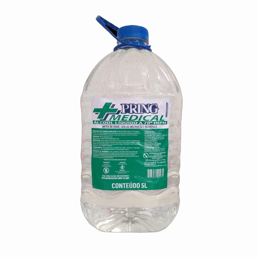 Álcool líquido 70° Pring 5L (caixa c/2)
