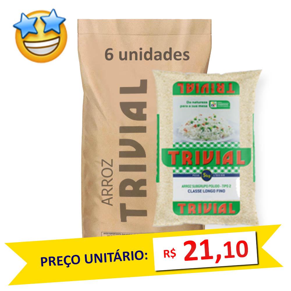 Arroz Branco Tipo2 Trivial 5kg (Fardo c/ 6)  - Grupo Borges Atacadista