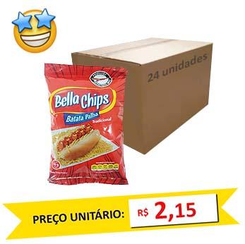 Batata Palha Tradicional Bella Chips (Caixa c/ 24)   - Grupo Borges Atacadista