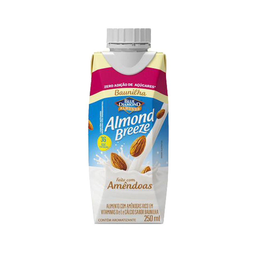 Bebida láctea  Almond Breeze 250ml Baunilha Zero Açúcar  (caixa c/12)