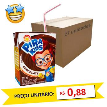 Bebida Láctea Chocolate Piracanjuba 200ml (Caixa c/ 27)  - Grupo Borges Atacadista