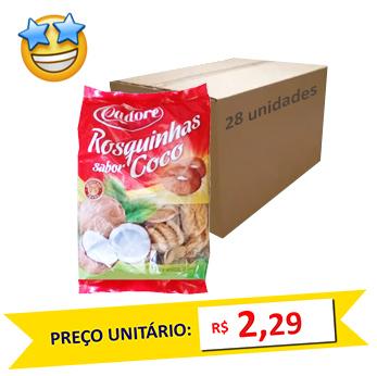 Biscoito Rosquinha Côco Cadore 350g (Caixa c/ 28)  - Grupo Borges Atacadista