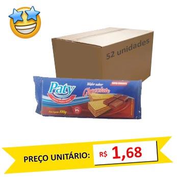 Biscoito Wafer Chocolate Paty 100g (Caixa c/ 52)
