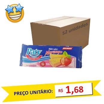 Biscoito Wafer Morango Paty 100g (Caixa c/ 52)  - Grupo Borges Atacadista