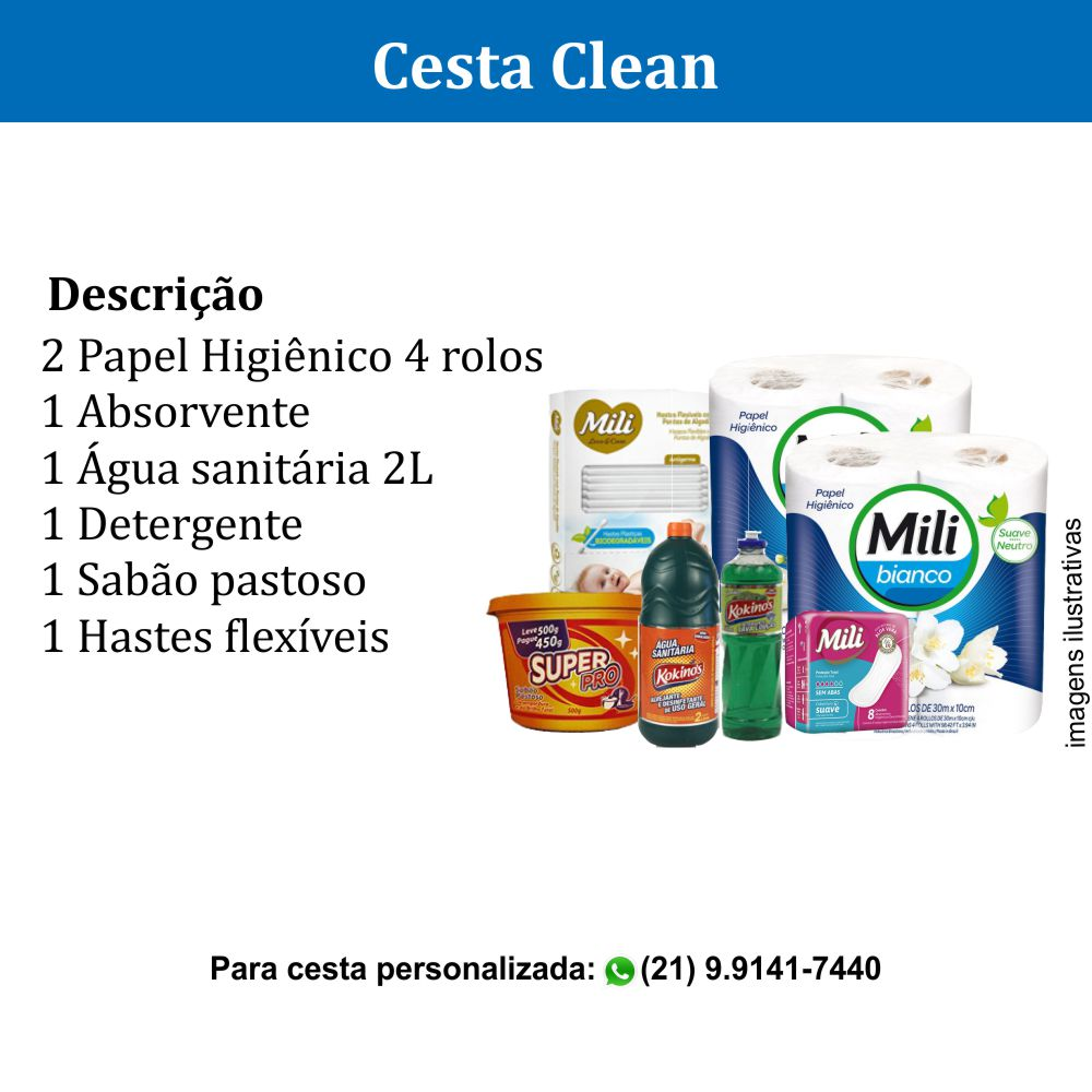 Cesta Clean com 7 itens de higiene e limpeza