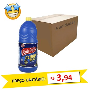 Cloro Max Kokinos 2l (Caixa c/ 6)