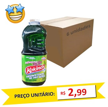 Desenfetante Alfazema Kokinos 2l (Caixa c/6)  - Grupo Borges Atacadista
