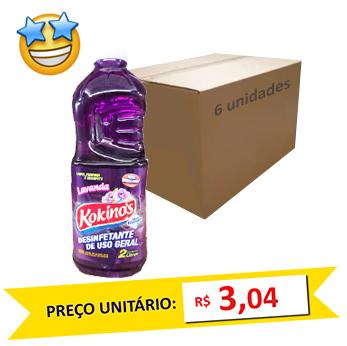 Desinfetante Lavanda Kokinos 2l (Caixa c/6)  - Grupo Borges Atacadista