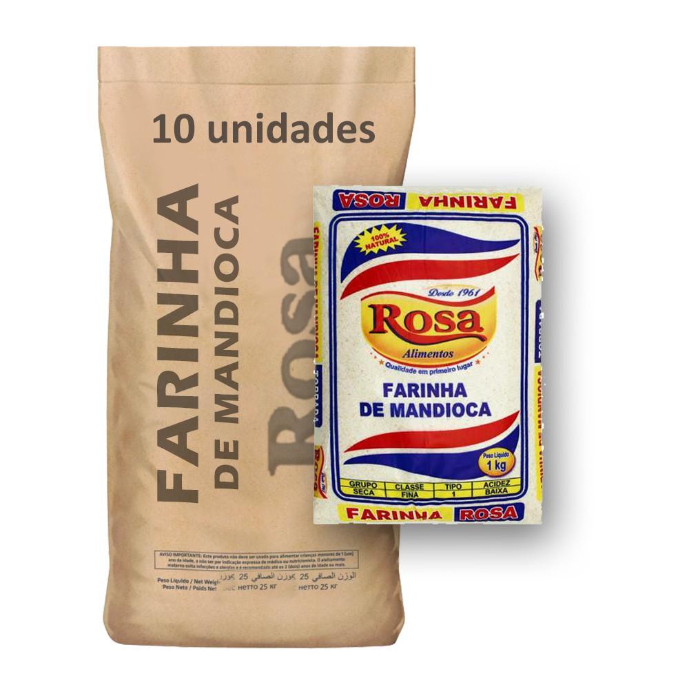 Farinha de Mandioca Rosa kg (Fardo 10kg)  - Grupo Borges Atacadista