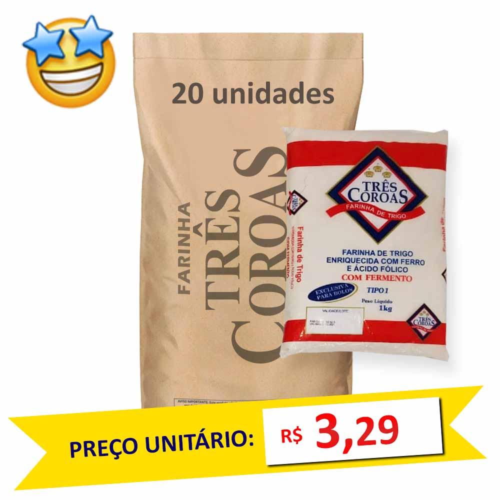 Farinha de Trigo c/ Fermento Três Coroas kg (Fardo c/ 20)  - Grupo Borges Atacadista