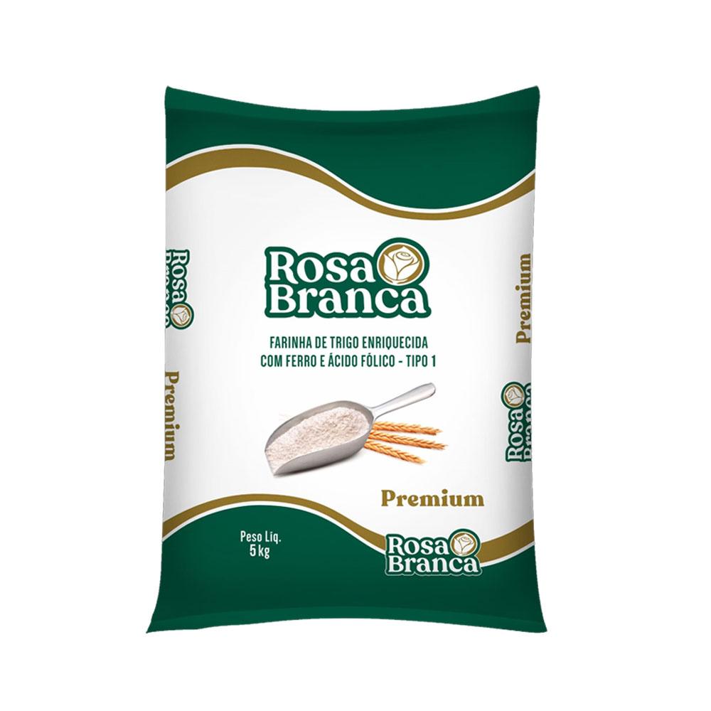 Farinha de trigo Premium 5kg Rosa Branca c/ fermento (1 unidade)