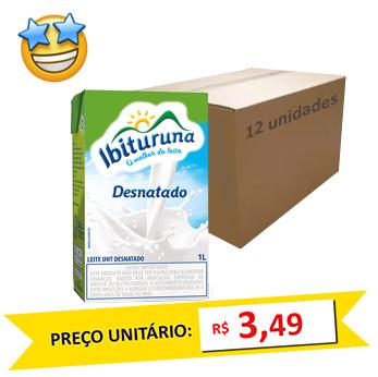 Leite Desnatado UHT Ibituruna (Caixa c/ 12)