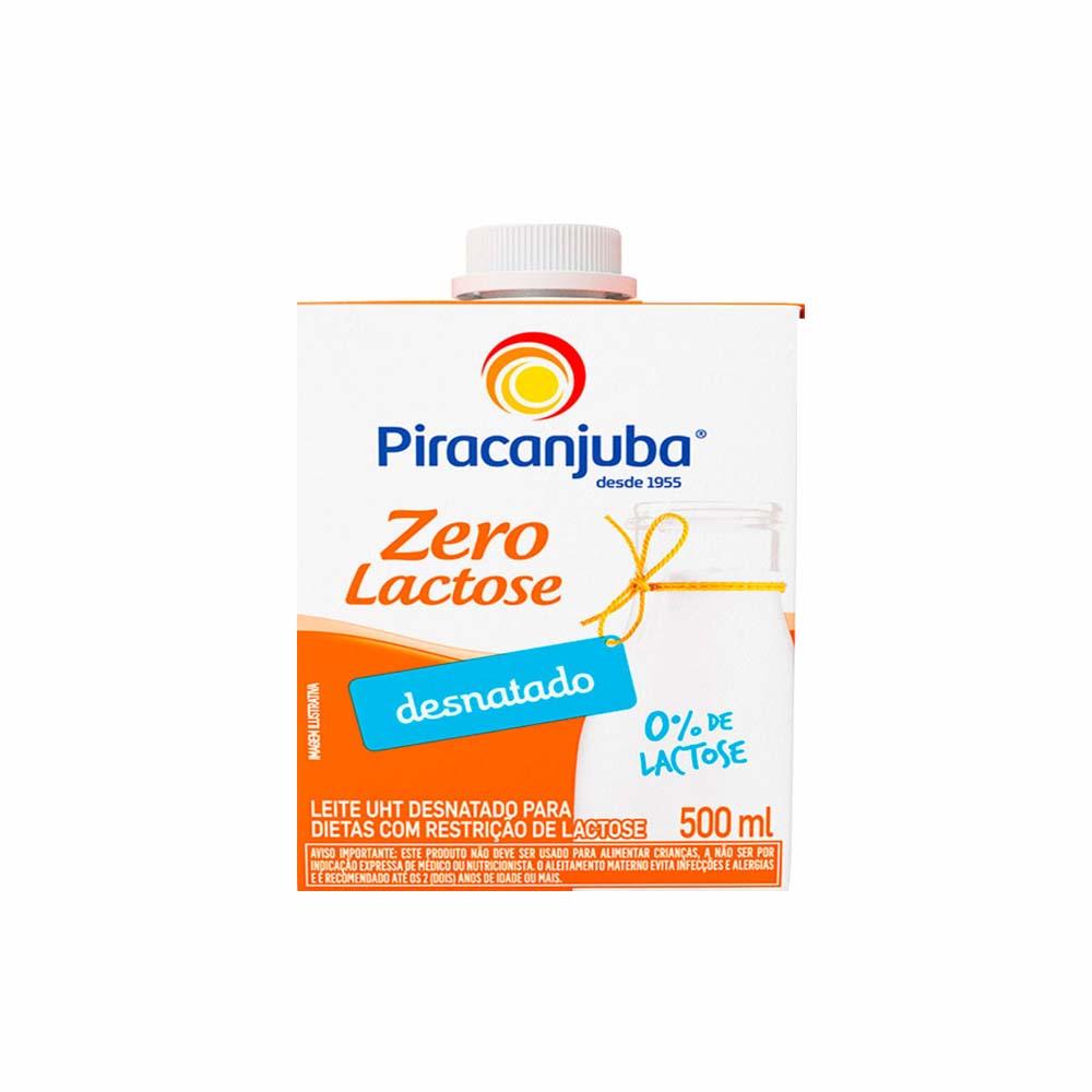 Leite desnatado Zero Lactose Piracanjuba 500ml (caixa c/12)  - Grupo Borges Atacadista