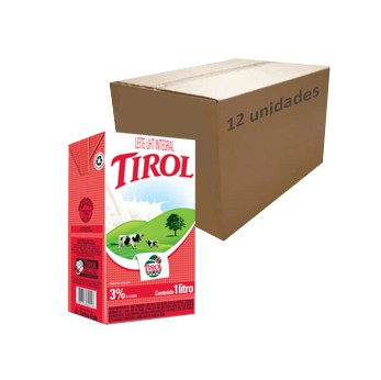Leite Longa Vida UHT Integral Tirol 1l (Caixa c/ 12)  - Grupo Borges Atacadista