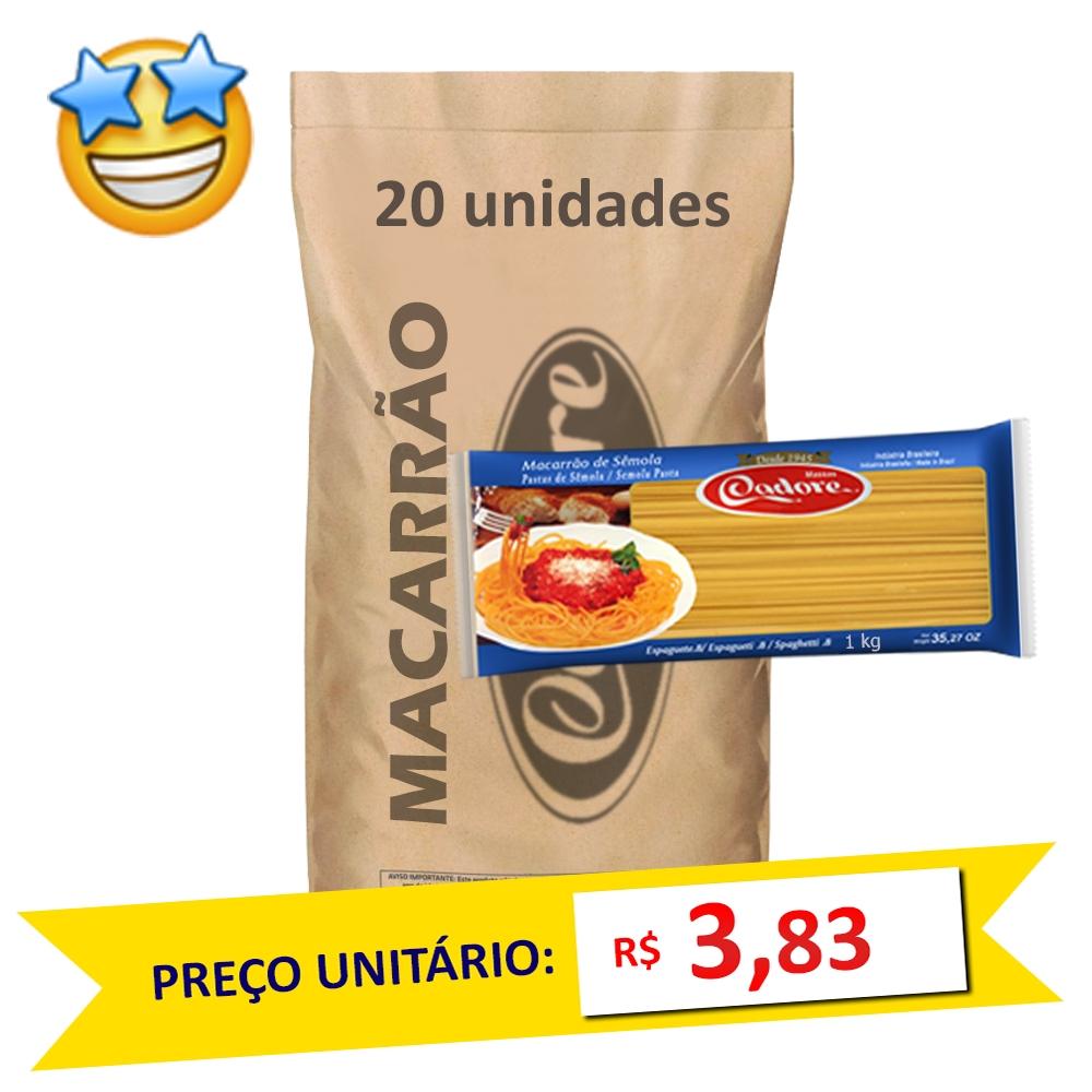 Macarrão Sêmola Espaguete Cadore 1kg (Fardo c/ 20)