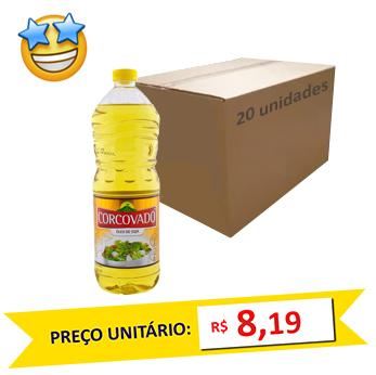 Óleo de Soja Corcovado 900ml (Caixa c/ 20)  - Grupo Borges Atacadista