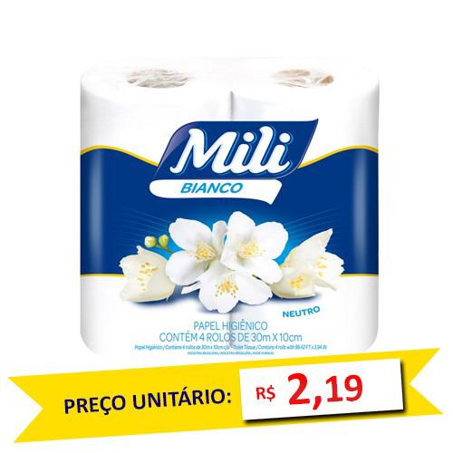 Papel Hig. Mili Bianco 4 Rolos 30m (Fardo c/16)  - Grupo Borges Atacadista