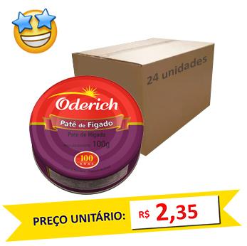 Patê de Fígado Oderich 100g (Caixa c/ 24)  - Grupo Borges Atacadista