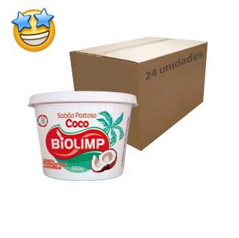 Sabão Pastoso Côco Biolimp 500g (Caixa c/ 24)  - Grupo Borges Atacadista