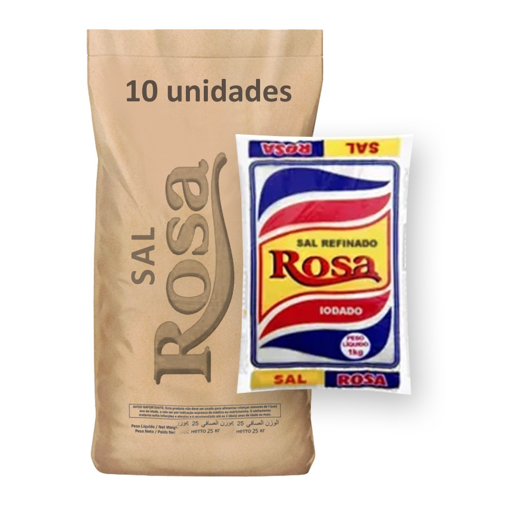 Sal Iodado Rosa 1kg (Fardo 10kg)  - Grupo Borges Atacadista