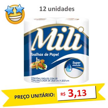 Toalha de Papel Mili 2x55 fls (Fardo c/12)  - Grupo Borges Atacadista