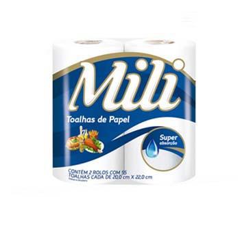 Papel toalha Mili c/2rolos (Fardo c/12)