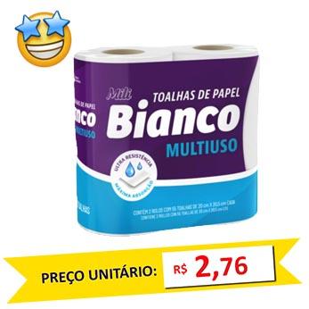Toalha de Papel Mili Bianco 2x55 fls (Fardo c/12)  - Grupo Borges Atacadista