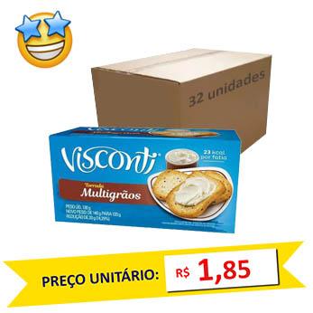 Torrada Multigrãos Visconti 120g (Caixa c/ 32)  - Grupo Borges Atacadista