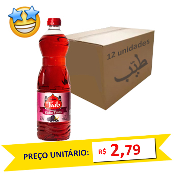 Vinagre de Vinho Tinto Taíb 750ml (Caixa c/ 12)