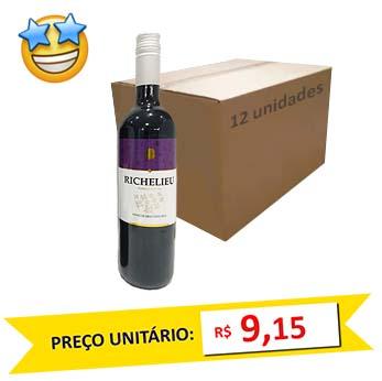 Vinho Tinto Seco Richelieu 750ml (Caixa c/ 12)  - Grupo Borges Atacadista