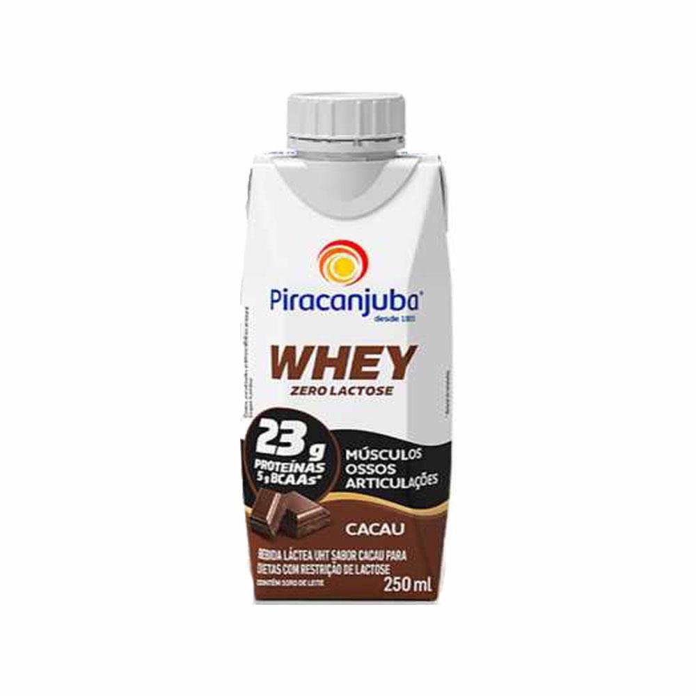 Whey Piracanjuba Zero Lactose sabor cacau 250ml (caixa c/12)