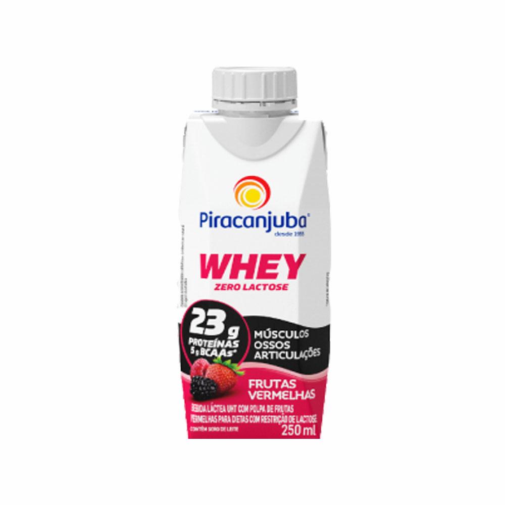 Whey Piracanjuba Zero Lactose sabor frutas vermelhas 250ml (caixa c/12)