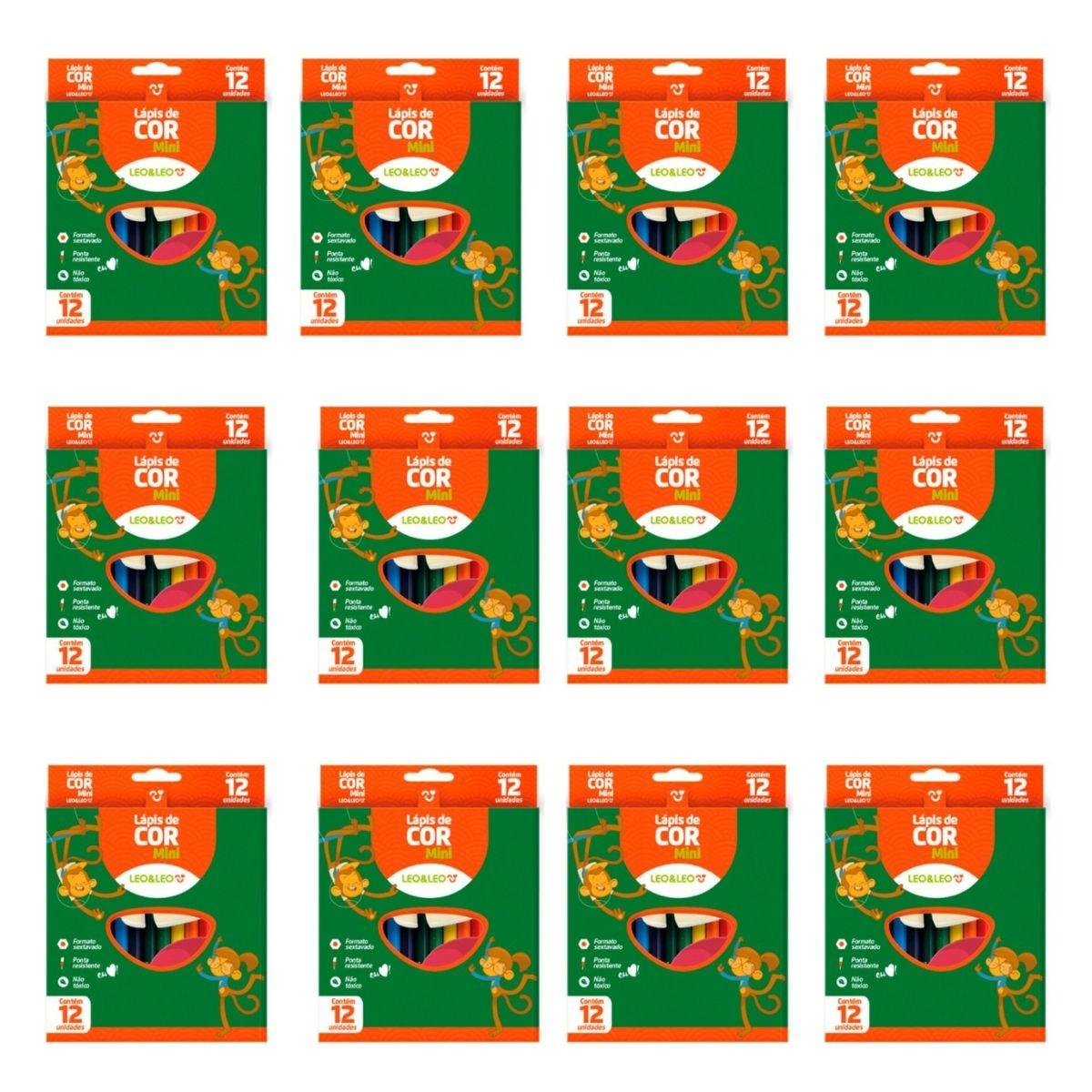 12 Caixas de Lapis De Cor Mini 12 Cores Formato Sextavado Leo e Leo Atacado