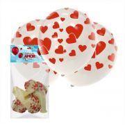 10 Balões Do Amor Cristal com Vermelho Art Latex