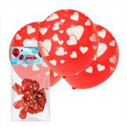 10 Balões Do Amor Vermelho com Branco Art Latex