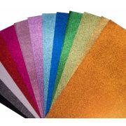10 Placas de Eva com Glitter 40x60cm Artesanato 2 Pacotes Make Mais