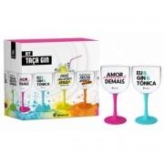 2 Taças Gin Bicolor - Eu e Gin e Tônica 580ml Presentes Criativos Brasfoot